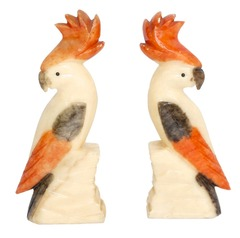 vintage marble cockatoo bookends